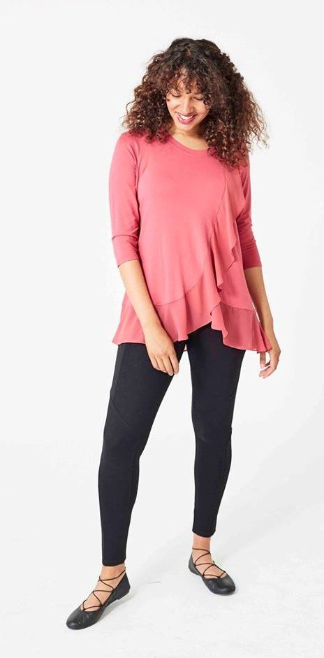 cascade tunic with black leggings